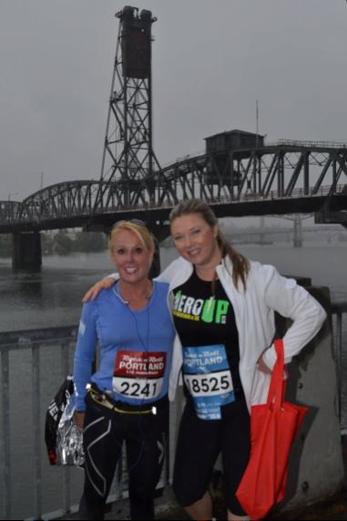 image of Robin Wilson and Natalie Smith. Portland, Oregon Rock 'n Roll Running Race.