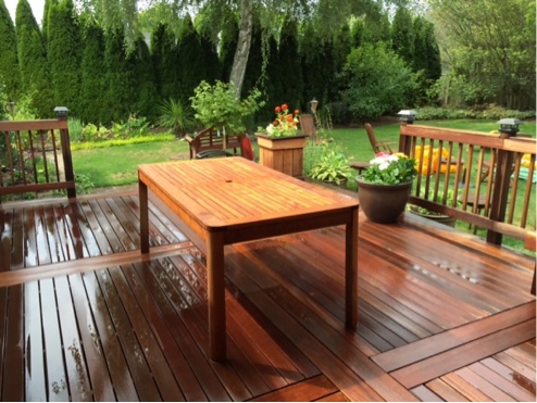 cleaning and brightening kayu deck