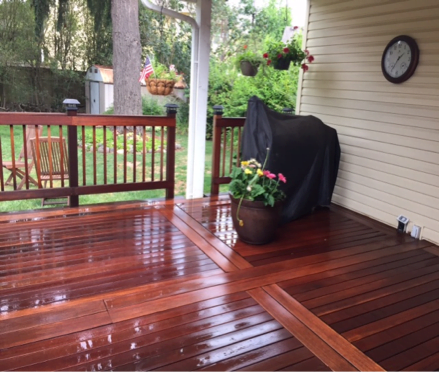 cleaning and brightening hardwood deck example 2
