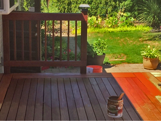Staining and sealing hardwood deck example