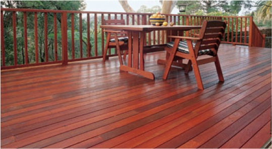 image of tropical hardwood deck on Kayu.com cleaning checklist page