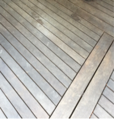 before staining hardwood decking example