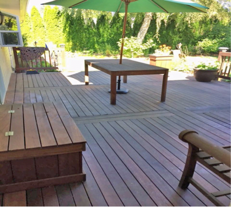 photo example of hardwood deck structure testing on Kayu.com maintenance page
