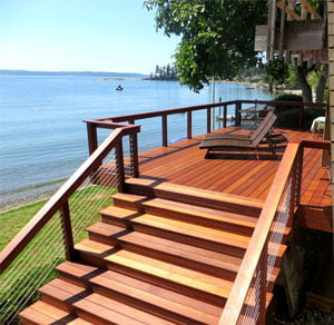 Kayu Decking Installation Essentials left facing deck with lake in background