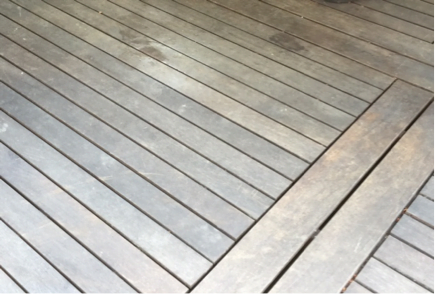 hardwood deck maintenance Smith Family example before picture
