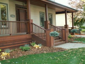 mahogany, dark red meranti, hardwood porch, covered porch