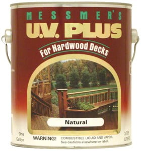 We recommend Messmer's U.V. Plus Hardwood Deck Stain for the exotic hardwood decking that we offer